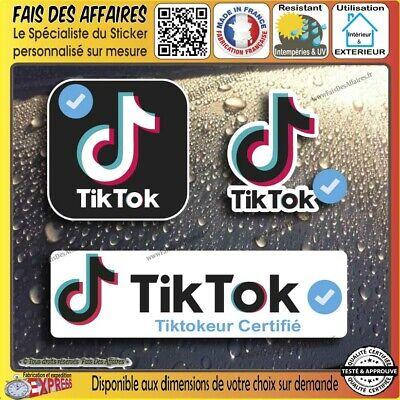 lot 3 Stickers autocollant Tik Tok tiktokeur certifié decal
