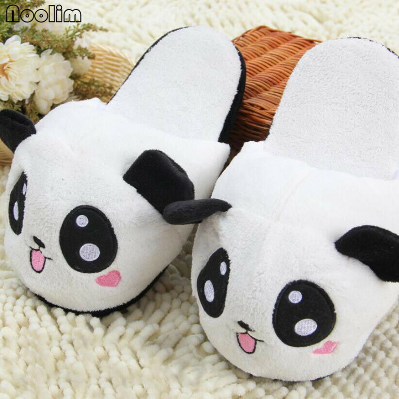 Winter Indoor Panda Slippers Flat Furry Home Women Plush Slippers Warm Nonslip