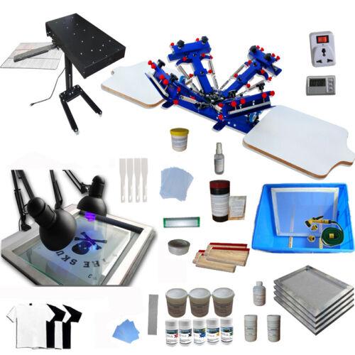 TECHTONGDA 4 Color 2 Station Screen Printing Full Starter Kit T-shirts Press