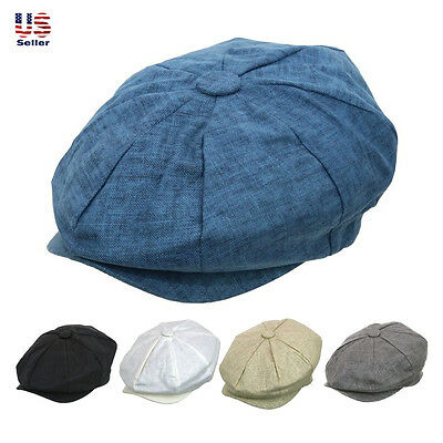 Fashion Men's Linen 8 Panel Applejack Gatsby Newsboy Ivy Hat Spring Summer Goft