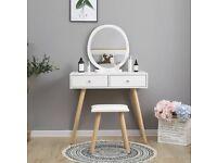 Dressing Table with Round Mirror & Stool (BNIB)