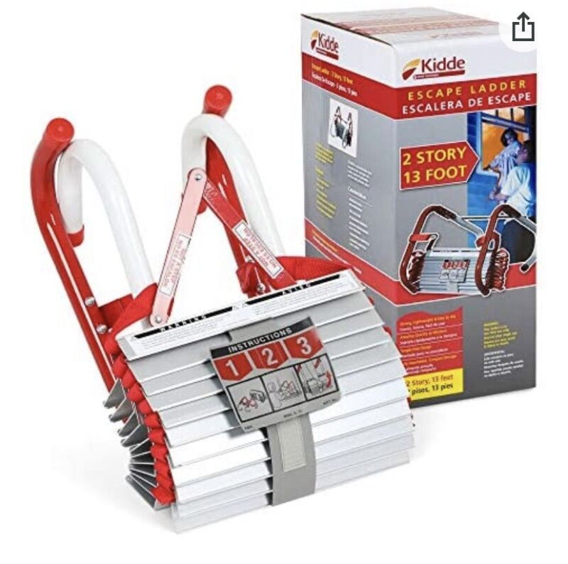 Kidde 2 Story Fire Escape Ladder with Anti-Slip Rungs, 13-Foot , Red