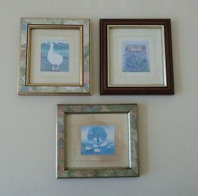 Miniature Prints (3) by SharonJervis Signed. Sheep.Goose.Etc.1980