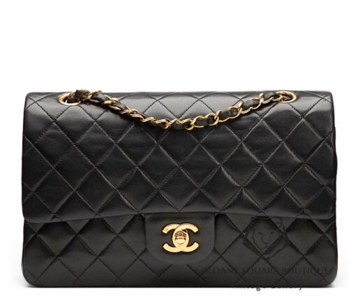CHANEL BLACK QUILTED 2.55 LAMBSKIN VINTAGE MEDIUM CLASSIC DOUBLE FLAP BAG GHW Z3