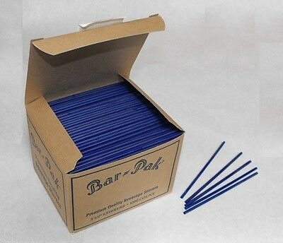 1000 Piece 5.5 Blue Straws Slim Sip N Stir Swizzle Cocktail Stirrer 805b