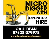 Micro & Mini Digger hire with Driver. We also offer Landscaping, Groundworks, Block Paving & Fencing