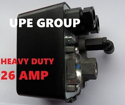 26 AMP PRESSURE SWITCH CONTROL AIR COMPRESSOR 140-175  1 PORT HEAVY DUTY COND