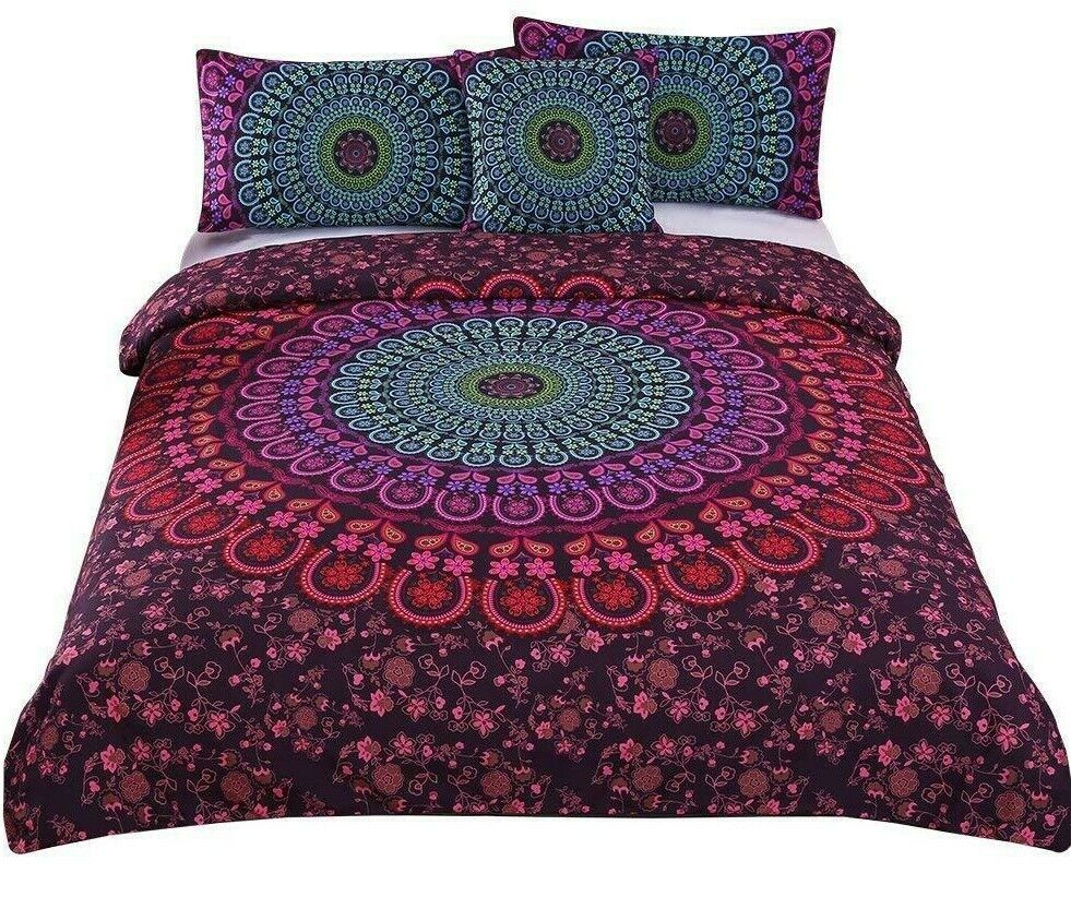 Bohemian King Duvet Coverlet 2 Shams Floral Mandalay Luxury