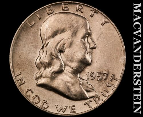 1957-D Franklin Half Dollar-Scarce High Grade Luster V2664 - $11.00