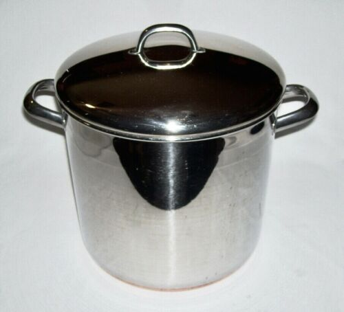 REVERE WARE !801 ~ Vintage 12 Qt. Stainless Steel/Copper Clad STOCK POT w/LID