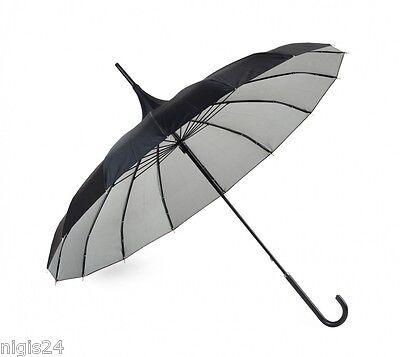 XL Pagodenschirm schwarz & silber kombiniert mit Seidenglanz Regenschirm Pagode