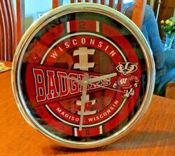 Wisconsin Badgers Chrome Round Wall or Desk Clock