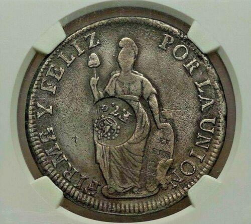 ND(1834) PHILIPPINES FERDINAND VII SILVER 8 REALES COUNTERMARK PERU 8 REALES