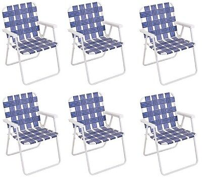(6) ea Rio BY055-0138 Blue Woven Web Folding Beach /  Patio Chairs w Steel Frame