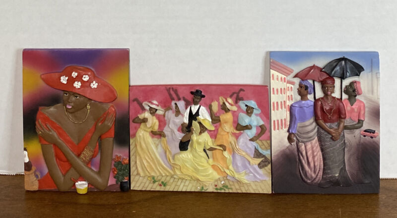 3 Vintage African American Art/Wall Tile Art 3D Numbered, Various Designs