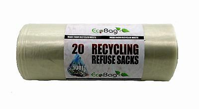 20 Eco Bag Clear Recycling Sacks Plastic Rubbish Household Bin 100l 88 Gauge
