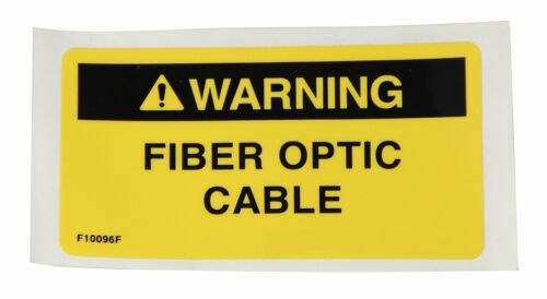 """3-1/4"""" x 1-3/4"""" Sticky Back Black on Yellow with """"WARNING FIBER OPTIC CABLE"""""""