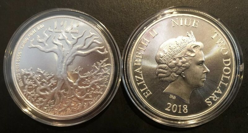 2018 Tree of Life Niue .9999 Silver Coin 1 oz $2 NZD Truth Coin Series w/Capsule