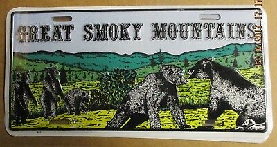 Smoky Mountains Black Bears Metal License Plate  Embossed Smoky Mts