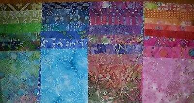 "20pcs BATIK quilt blocks, cotton fabric 9.5"" squares, + 2yds 3/8"" elastic"