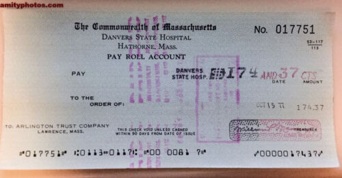 BOGO free Danvers State Hospital Payroll Check - Demolished Insane/Mental Asylum