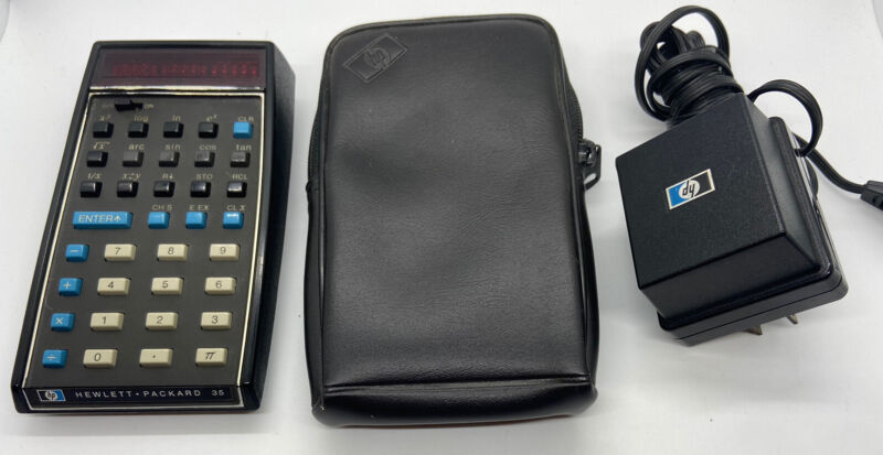 HP-35 Vintage Scientific Calculator with Original Case, Battery Charger Repair