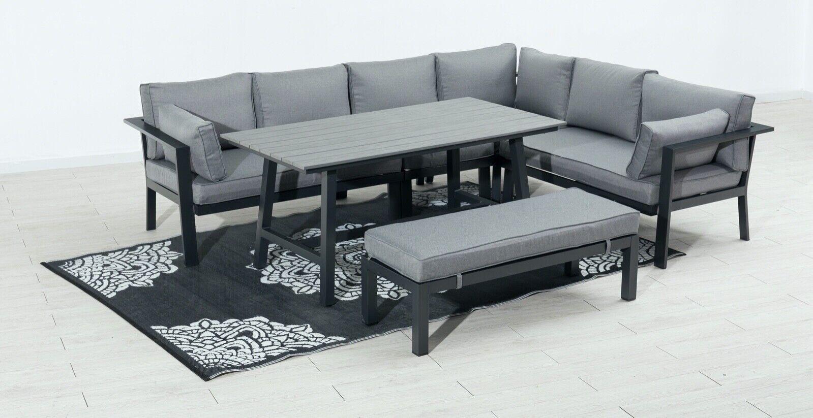Alu Dining Eck Lounge Set Rechtsschenklig  Sitzgruppe Gartenmöbel Essgruppe NEU