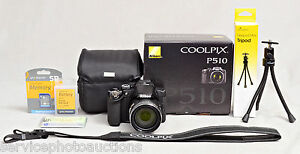 NIKON-Coolpix-P510-BLACK-16-1Megapixel-camera-8Gb-MUCH-MORE