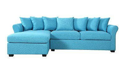 Modern Large Linen Sectional Sofa with Extra Wide Chaise - Blue Modern Wide Sofa