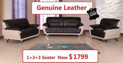 ECHO brand new 1+2+3 Genuine Leather Lounge, Was $2899, Now $1799