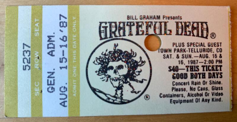 1987 GRATEFUL DEAD Concert TICKET Stub AUGUST 15-16 TOWN PARK TELLURIDE CO MINT