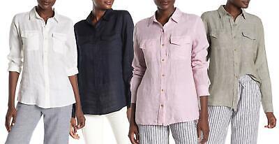 JOE FRESH Pure Linen Shirt Long Sleeve Pink Navy Khaki White