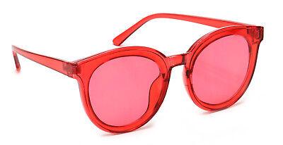 Round Designer Cat Eye Sunglasses Color Lens Retro Vintage Style (Eye Color Lens)
