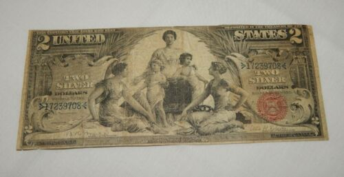 "1896 $2 Two Dollar ""Educational"" Silver Certificate Currency Note"