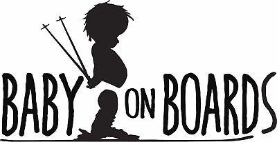 Baby on Board SKI vinyl sticker SKIER car truck bumper window skis safety boards