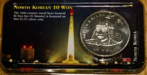 2001 N Korean Korea Silver 1 Troy OZ 10 Won Sterling .925 Coin