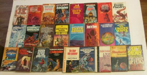 Lot of 25 Vintage Science Fiction Fantasy Novel Books Paperback Retro Pulp Scifi