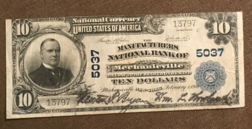 Mechanicville ,New York , manufacturers National Bank  1902 PB $10,  VF