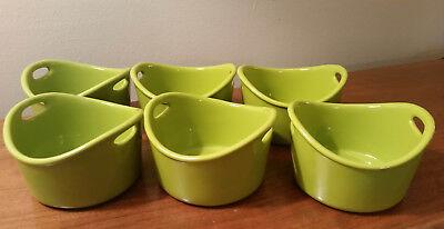 NEW! Set of 6 (not 4) Rachael Ray Bubble & Brown 10oz Stoneware Ramekins - Green