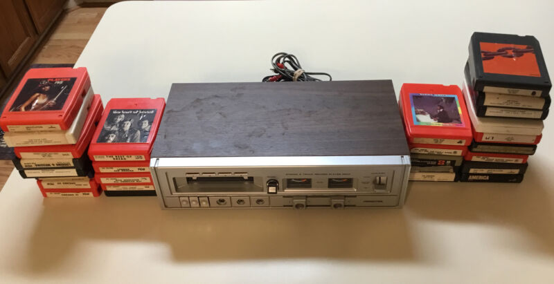 Soundesign Stereo 8 Track Record Player Deck Model 493 W/27 8 Track Cassettes