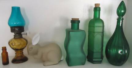 Variety of Old Coloured Glass Bottles - From $5