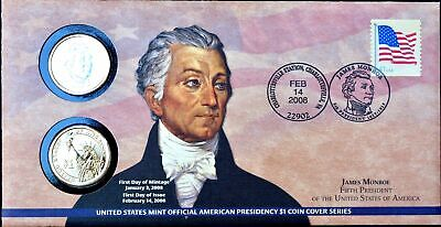 1 First Day Coin Cover (2008 P & D $1 JAMES MONROE FIRST DAY COIN COVER PRESIDENTIAL DOLLAR P25 - SEALED )