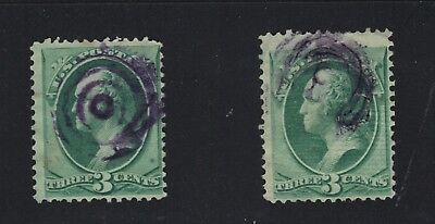 US #136 - Two Purple Fancy Cancels on Grilled 3c Washington Large Bank Notes