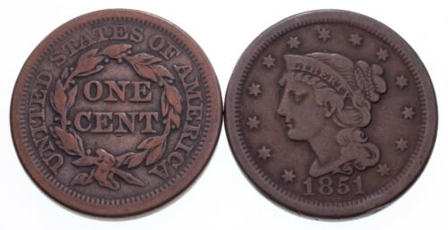 Lot of 2 Large Cents (1851 and 1853) Brown Color, Fine Condition