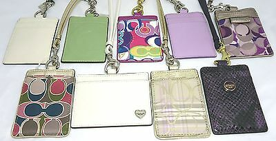 NWT Coach Id Lanyard Card Holder/Case Leather Lilac/Purple/Pink/Blue Badge Tag