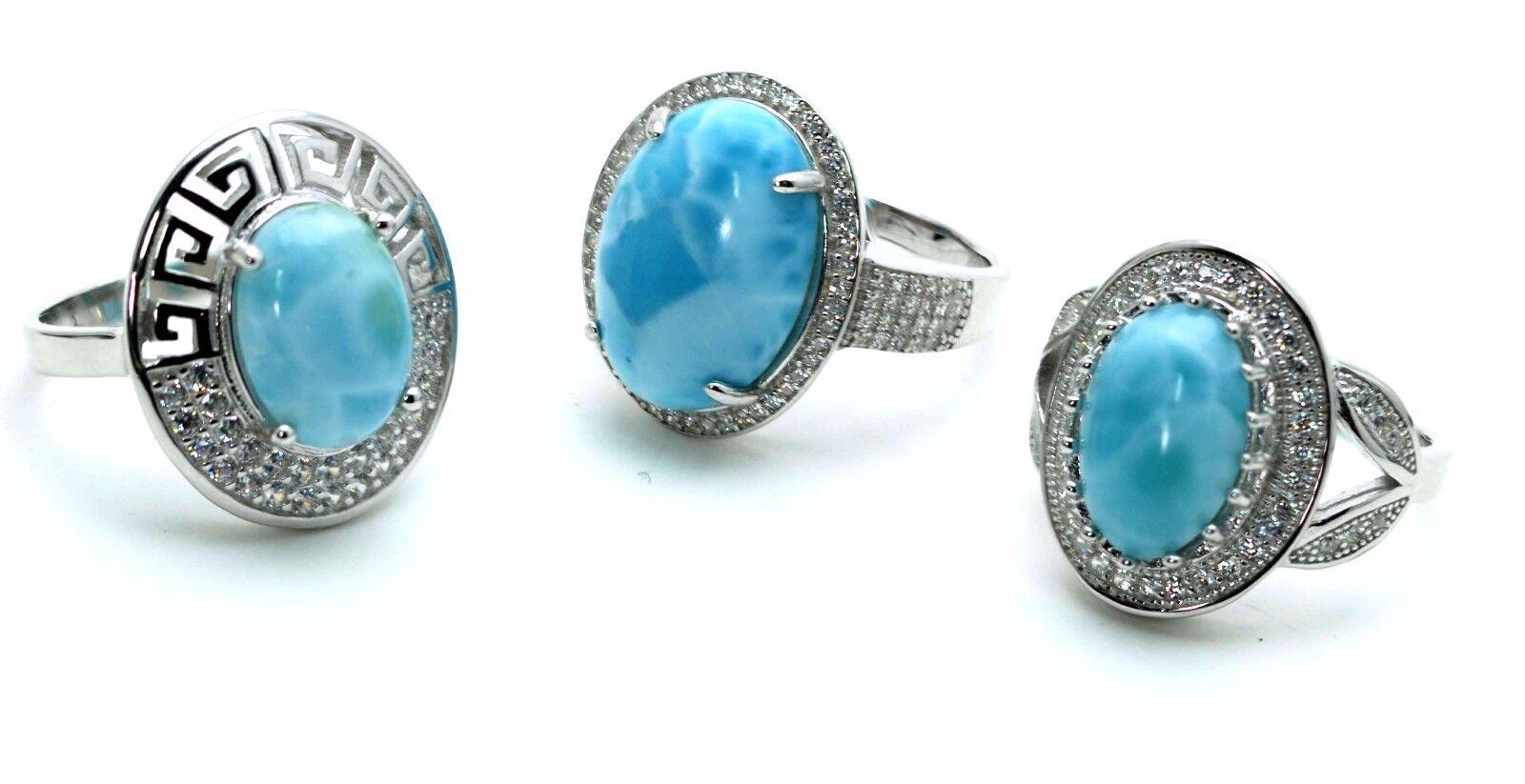 Larimar Natural (wholesale) 3 Rings Premium Jewelry. .925...