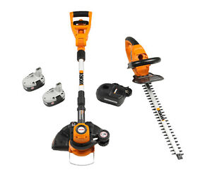 WG900-1-Worx-2-pc-Combo-Grass-Trimmer-Hedger-2-18V-Nicad-Batteries-Charger