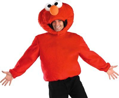Sesame Street Elmo Adult Plush Shirt N' Headpiece Halloween Costume XL 42-46