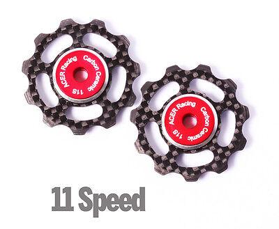 Carbon Fiber Jockey Wheels with Ceramic Bearings for Shimano & SRAM - 6.5g