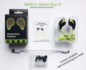 G6 Sports Bluetooth Wireless Earphones GREEN for Apple iPhone iPad, Samsung, Sony, laptop, PC